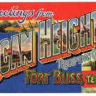 LOGAN HEIGHTS, Fort Bliss, Texas large letter linen postcard Teich