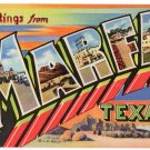 MARFA, Texas large letter linen postcard Teich