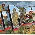 EL PASO, Texas large letter linen postcard Kropp