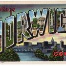 NORWICH, Connecticut large letter linen postcard Teich