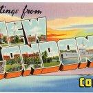 NEW LONDON, Connecticut large letter linen postcard Colourpicture