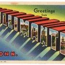 WILLIMANTIC, Connecticut large letter linen postcard Teich