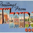 NEW LONDON, Connecticut large letter linen postcard Tichnor