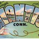 NIANTIC, Connecticut large letter linen postcard Tichnor