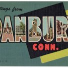 DANBURY, Connecticut large letter linen postcard Teich