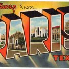 PARIS, Texas large letter linen postcard Teich