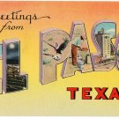 EL PASO, Texas large letter linen postcard Colourpicture
