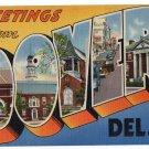 DOVER, Delaware large letter linen postcard Tichnor