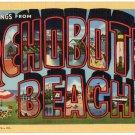 REHOBOTH BEACH, Delaware large letter linen postcard Teich