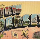 NEW JERSEY large letter linen postcard MWM