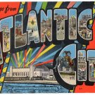 ATLANTIC CITY, New Jersey large letter linen postcard Kropp