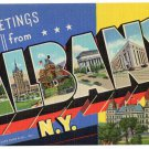 ALBANY, New York large letter linen postcard Teich