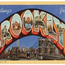 BROOKLYN, New York large letter linen postcard Teich