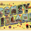 CONEY ISLAND, New York large letter linen postcard Teich