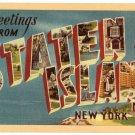 STATEN ISLAND, New York large letter linen postcard Dexter