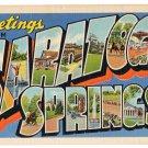 SARATOGA SPRINGS, New York large letter linen postcard Teich