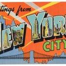 NEW YORK CITY large letter linen postcard Colourpicture
