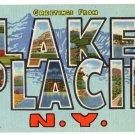 LAKE PLACID, New York large letter linen postcard Teich