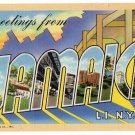 JAMAICA, New York large letter linen postcard Teich