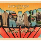 SYRACUSE, New York large letter linen postcard Metropolitan