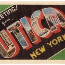 UTICA, New York large letter linen postcard Dexter