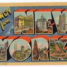 NEW YORK large letter linen postcard Teich