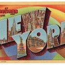 NEW YORK large letter linen postcard Teich