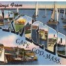 HARWICHPORT, Cape Cod, Massachusetts large letter linen postcard Tichnor
