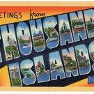 THOUSAND ISLANDS, New York large letter linen postcard Teich