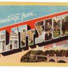 PLATTSBURG, New York large letter linen postcard Dexter