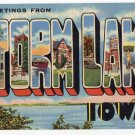 STORM LAKE, Iowa large letter linen postcard Teich