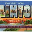 CLINTON, Iowa large letter linen postcard Teich