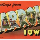 CARROLL, Iowa large letter linen postcard Teich