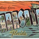 SARASOTA, Florida large letter linen postcard Kropp