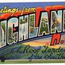 HIGHLANDS, North Carolina large letter linen postcard Teich