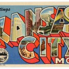 KANSAS CITY, Missouri large letter linen postcard Teich