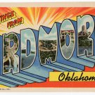 ARDMORE, Oklahoma large letter linen postcard Teich