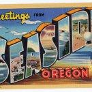 SEASIDE, Oregon large letter linen postcard Teich