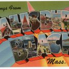 SALISBURY BEACH, Massachusetts large letter linen postcard Tichnor