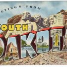 SOUTH DAKOTA large letter linen postcard Kropp