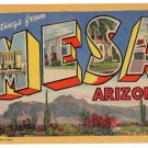 MESA, Arizona large letter linen postcard Teich