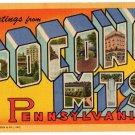 POCONO MTS., Pennsylvania large letter linen postcard Teich