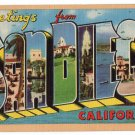 SAN DIEGO, California large letter linen postcard Longshaw