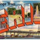 ERIE, Pennsylvania large letter linen postcard Colourpicture