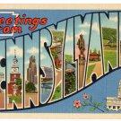 PENNSYLVANIA large letter linen postcard Teich