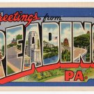 READING, Pennsylvania large letter linen postcard Curt Teich