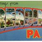 READING, Pennsylvania large letter linen postcard Tichnor
