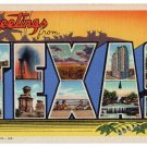 TEXAS large letter linen postcard Curt Teich