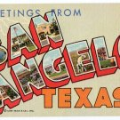 SAN ANGELO, Texas large letter linen postcard Teich