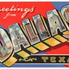 DALLAS, Texas large letter linen postcard Teich